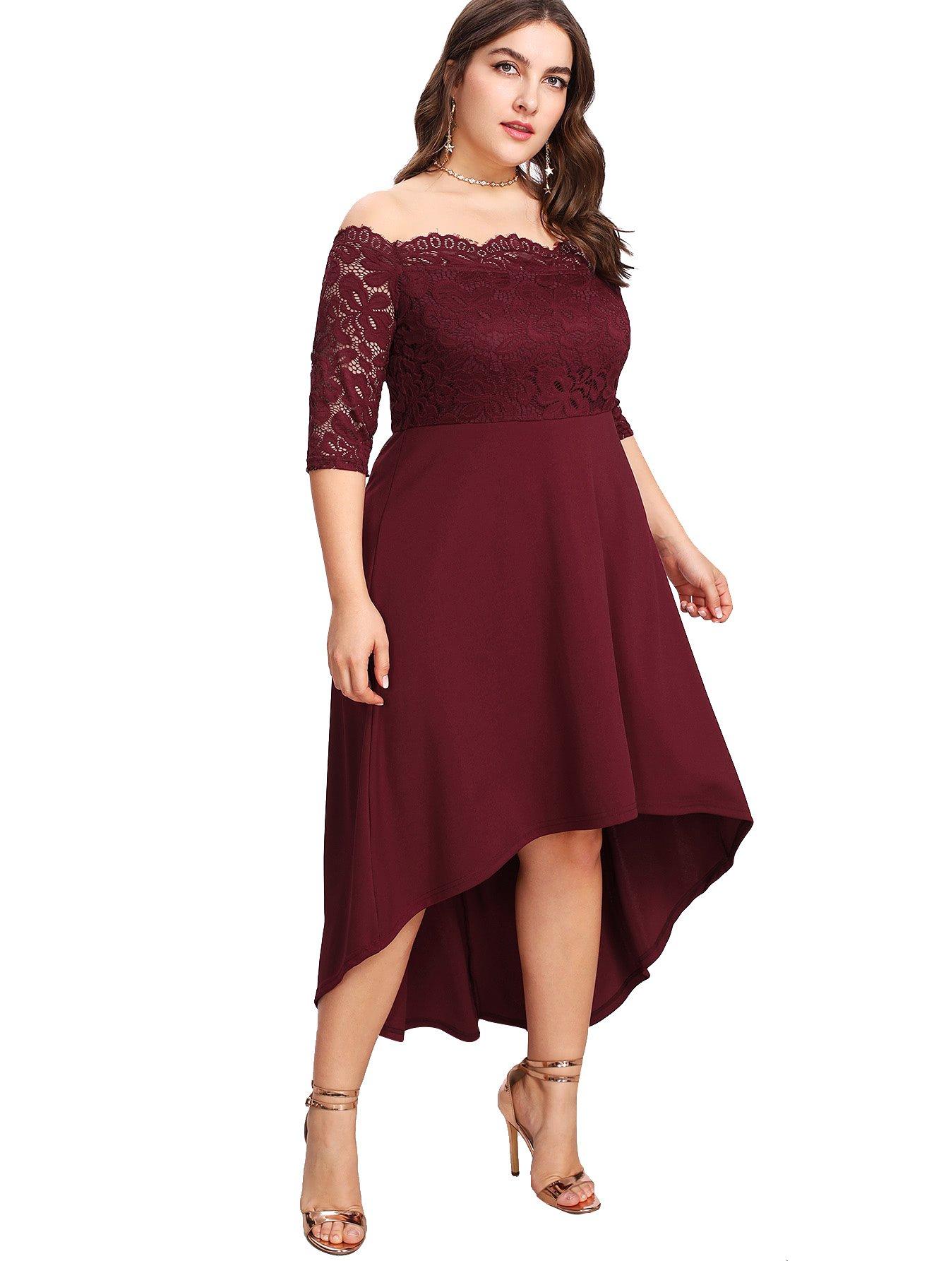 46cf48b90b8 Floerns Women s Plus Size Vintage Lace Dip High Low Cocktail Party Dress  Burgundy XXXXXL