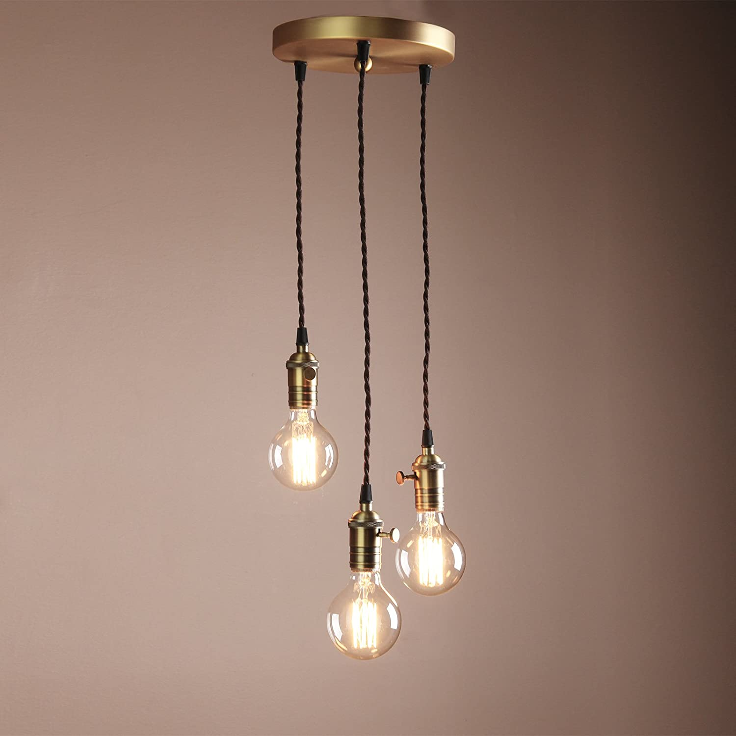 Buyee Deco Cluster 1 3 Vintage Ceiling Light Antique Lampholder Hanging Lamp Retro Pendant Light With 2m Braided Ceiling Cable Bulb Not Included Antique Finish Amazon Co Uk Kitchen Home