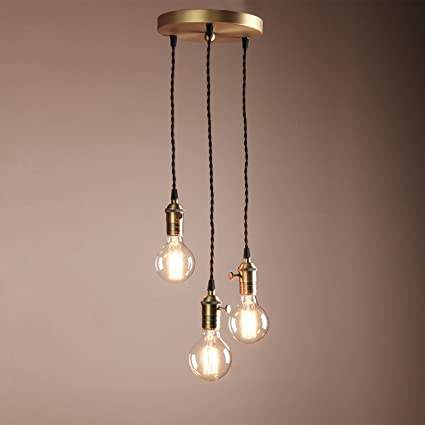 official photos 836ca 6b179 Buyee® Deco Cluster 1/3 Vintage Ceiling Light Antique Lampholder Hanging  Lamp Retro Pendant Light with 2m Braided Ceiling Cable(bulb not included)  ...