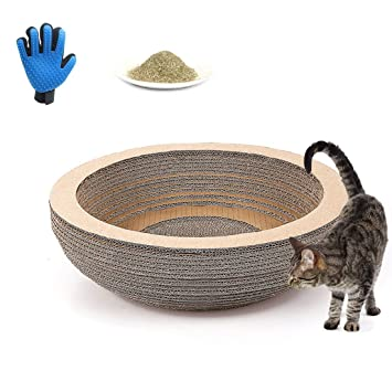 Rosavida griffoir de gato (cartón 2 en 1 juguete y reposo juguete gato con zapata con guante para cepillado de y hierba de gato: Amazon.es: Productos para ...
