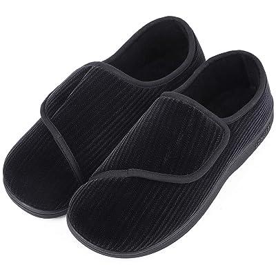LongBay Men's Memory Foam Diabetic Slippers Comfy Warm Plush Fleece Arthritis Edema Swollen House Shoes | Slippers