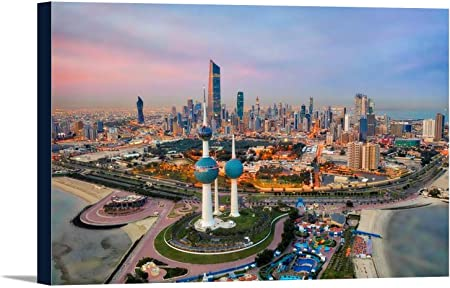 Kuwait City Tower Skyline Glowing At Night 9013194 24x16 Gallery Wrapped Stretched Canvas Posters Prints