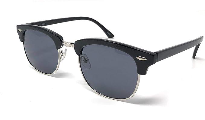 5696f1fff3 Black Frame with Black Lenses Adults Classic Shape Round Half Rim Frame  Adults Mens Womens Unisex