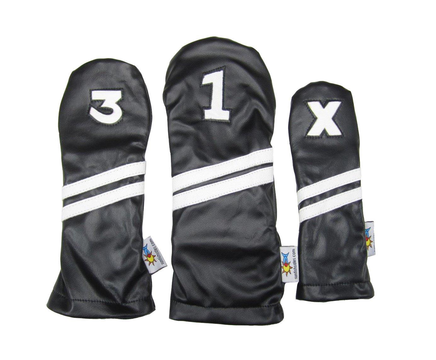 Sunfishレザーヘッドカバーセット1 – 3-xブラックandホワイト   B01MDLNDMJ