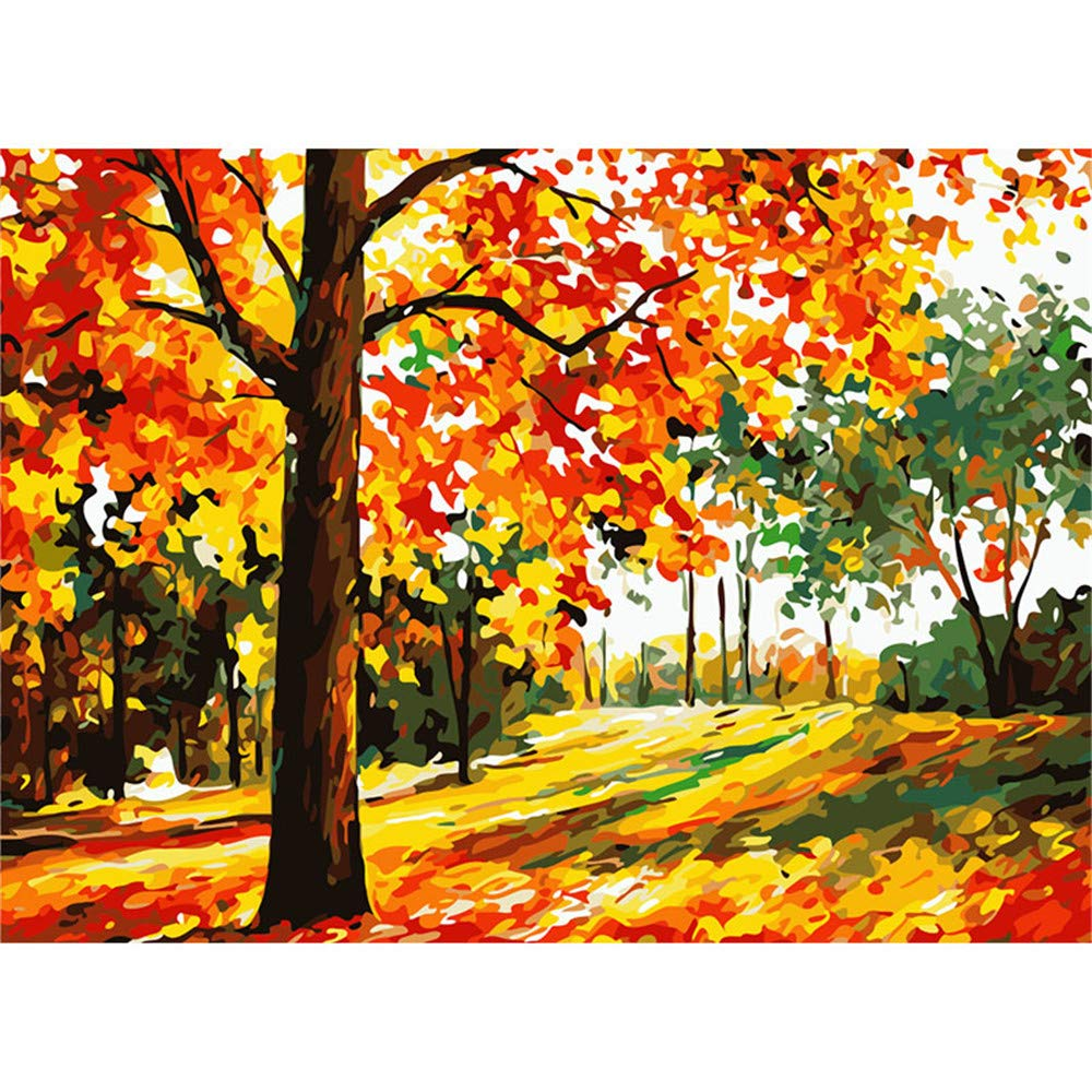 BeachVilla 16*20 inch DIY Pre-Printed Canvas Oil Painting Gift for Adults Kids Paint by Number Kits With Wooden Frame for Home Decor