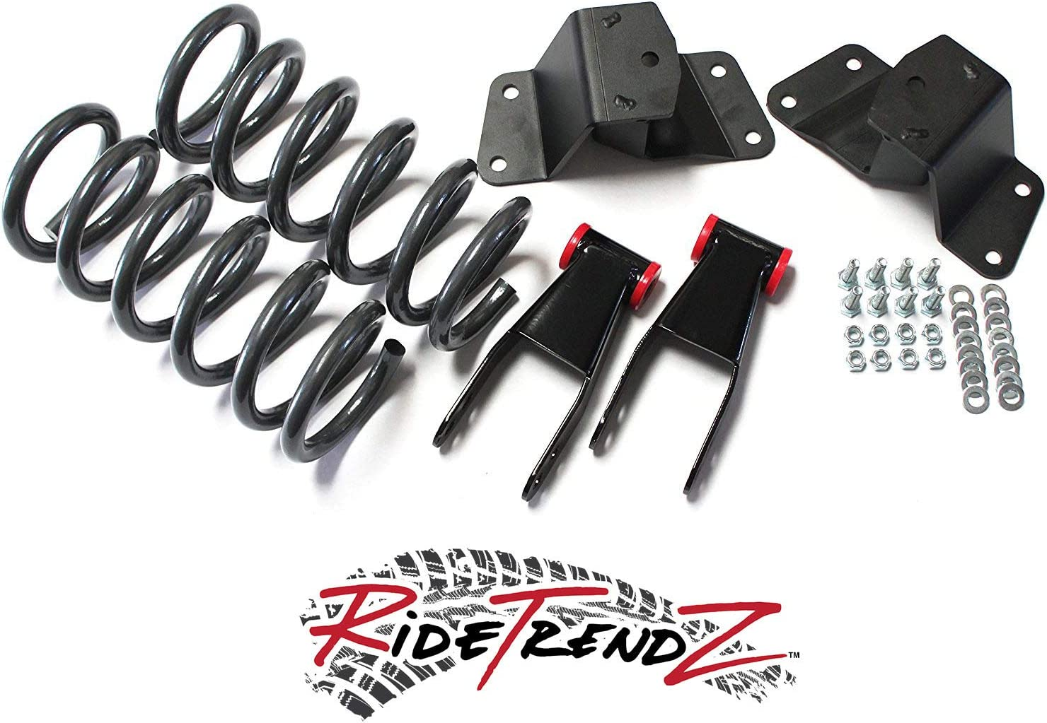 3 Rear Hanger /& Shackle Kit V6 Motor 2WD RTZ Fits Chevrolet GMC Silverado Sierra 1500 Pickup Lowering Kit 2 Front Lowering Drop Coil Springs