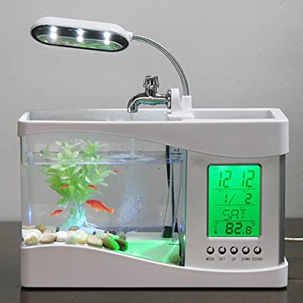 Amazon.com : ETbotu Usb Mini Fish Tank,tanque de peces, acuario ,Water Running LED Pump Light Calendar Clock Electronic Aquarium : Pet Supplies
