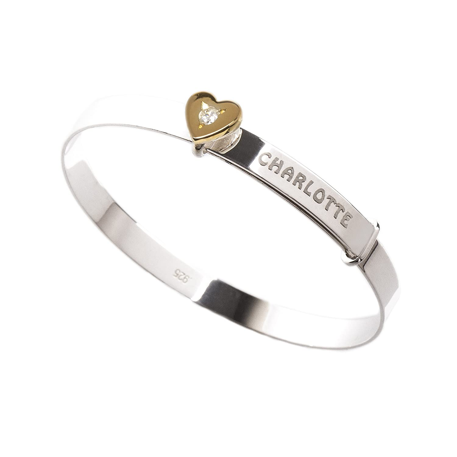 1000716528f25 Personalised Sterling Silver Expander Bracelet Bangle for Babies with  Yellow Gold Plated Heart Charm CZ