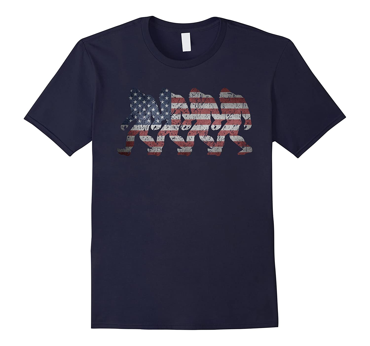 American Flag Bigfoot Sasquatch Silhouettes Epic USA T-shirt-CD
