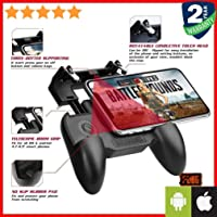 Priish® Premium PUBG Trigger Controller, Mobile Gamepad Joystick Holder - 4 Fingers Trigger Button for Android IPhone IOS High Sensitive Fast Fire Shooting Triggers in Survival - (100% Money Back & Guarantee Applied)