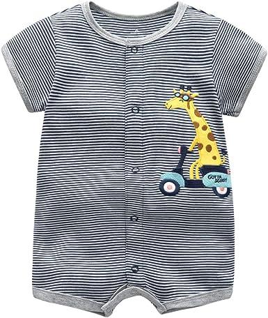 Bebé Pijama Niños Pelele de Algodón Body Manga Corta Verano Jumpsuit 3-12 Meses: Amazon.es: Ropa y accesorios
