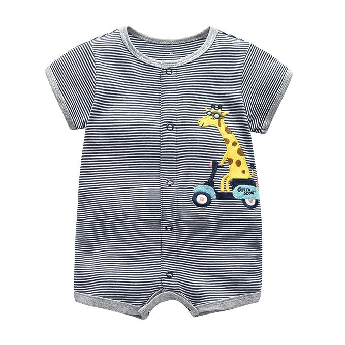 9b5a7b097 Bebé Pijama Niños Pelele de Algodón Body Manga Corta Verano Jumpsuit 3-12  Meses: Amazon.es: Ropa y accesorios