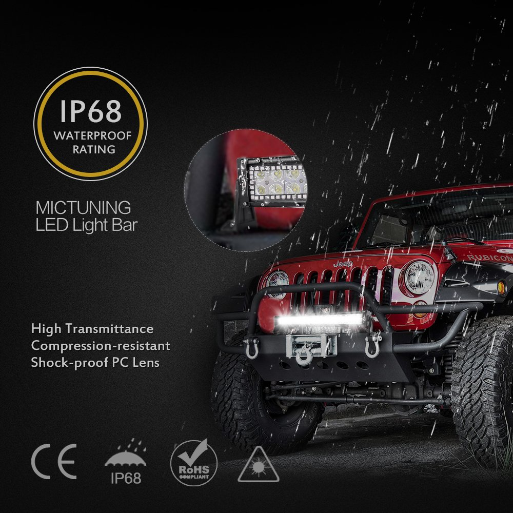 Mictuning 22 120w Wireless Remote Rgbw Halos Led Light Bar Wiring Harness Diagram Amazoncom Strobe Fun Chasing Function Driving Lamp With Free Automotive