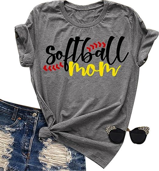9436d458 LONBANSTR Softball Mom Letter Print T-Shirt Womens O-Neck Short Sleeve Top  Tee