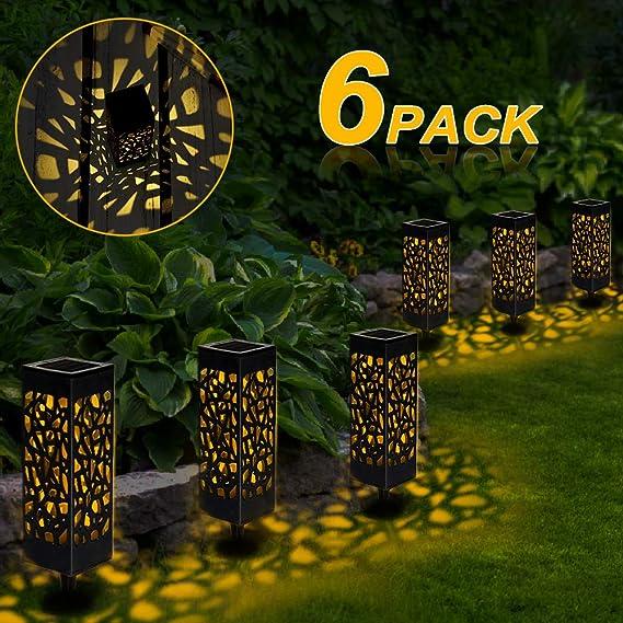 6 Pcs Farol Solar Exterior Jardin, LED Lámpara Solar Jardín Luz Solar Exterio para Camping, Jardín, Patio, Terraza, Camino: Amazon.es: Iluminación