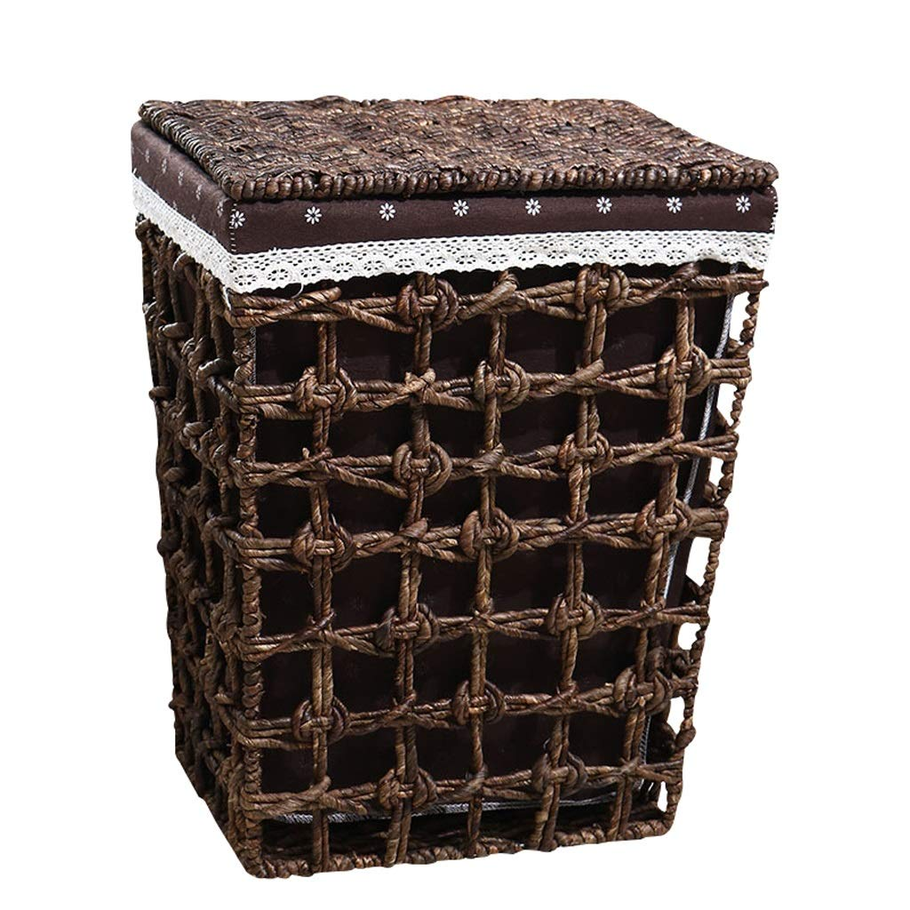 LINGZHIGAN 籐のランドリーバスケットコットンリネンライニング蓋の汚れたハンパーの服雑貨の収納バスケットブラウン (サイズ さいず : 39*30*50cm) B07KF7BJ7Z  39*30*50cm