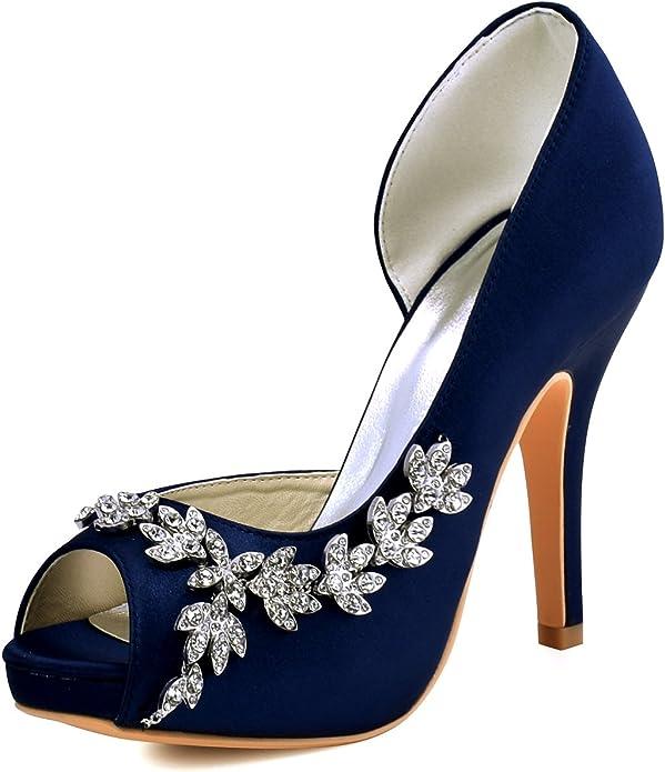 ElegantPark HP1560IAC Mujer Plataforma Peep Toe TACš®n Aguja Satin Zapatos De Noche Azul Marino EU 40