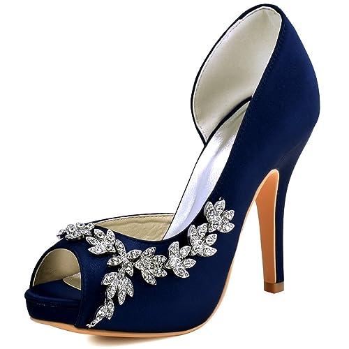 ElegantPark EP11045-IP Mujer Plataforma Peep Toe Tacón Aguja Arcos Satin  Zapatos De Boda Novia  Amazon.es  Zapatos y complementos ed7975f95d1