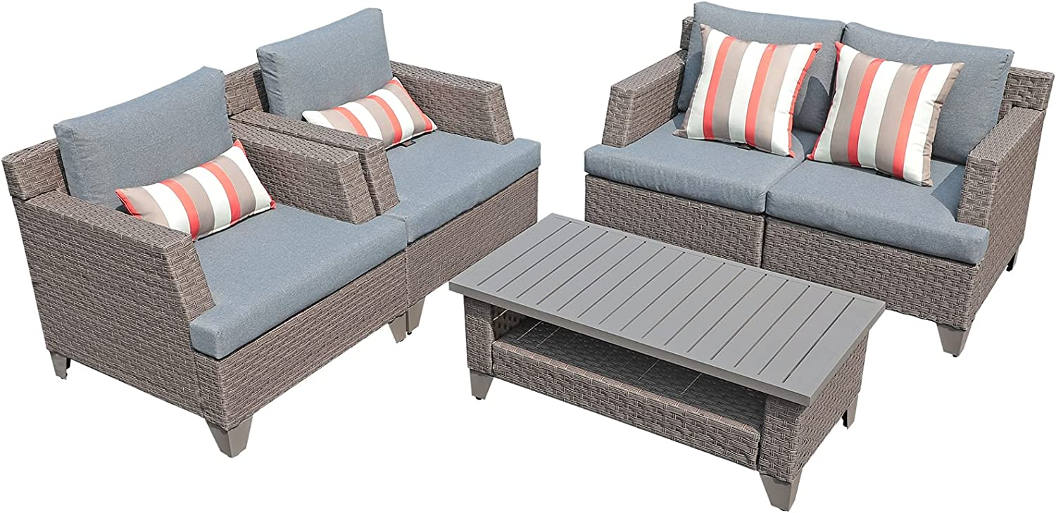 SUNSITT 5-Piece Outdoor Patio Furniture Set, Patio Conversation Set Wicker Outdoor Sectional with Coffee Table Waterproof Cover and Accent Pillows Included, Taupe Wicker