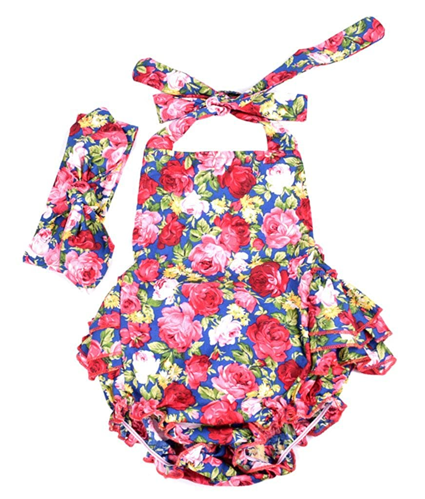 Carkoo Baby Girls Rose Floral Romper Dress Outfits with Headband