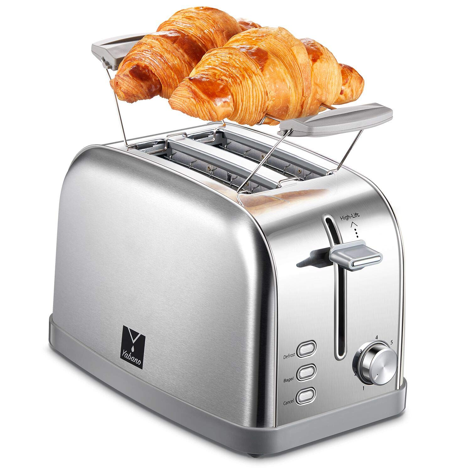 Yabano 2 Slice Toaster, Bagel Toaster Toaster with 7 Bread Shade Settings, Warming Rack, 2 Extra Wide Slots, Defrost Bagel Cancel Function, Removable Crumb Tray, Stainless Steel Toaster – Silver
