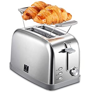 2 Slice Toaster with 7 Bread Shade Settings and Warming Rack, Toast Evenly and Quickly, Extra Wide Slots, Bagel Toaster, Defrost/Bagel/Cancel Function, Removable Crumb Tray, Stainless Steel Toaster