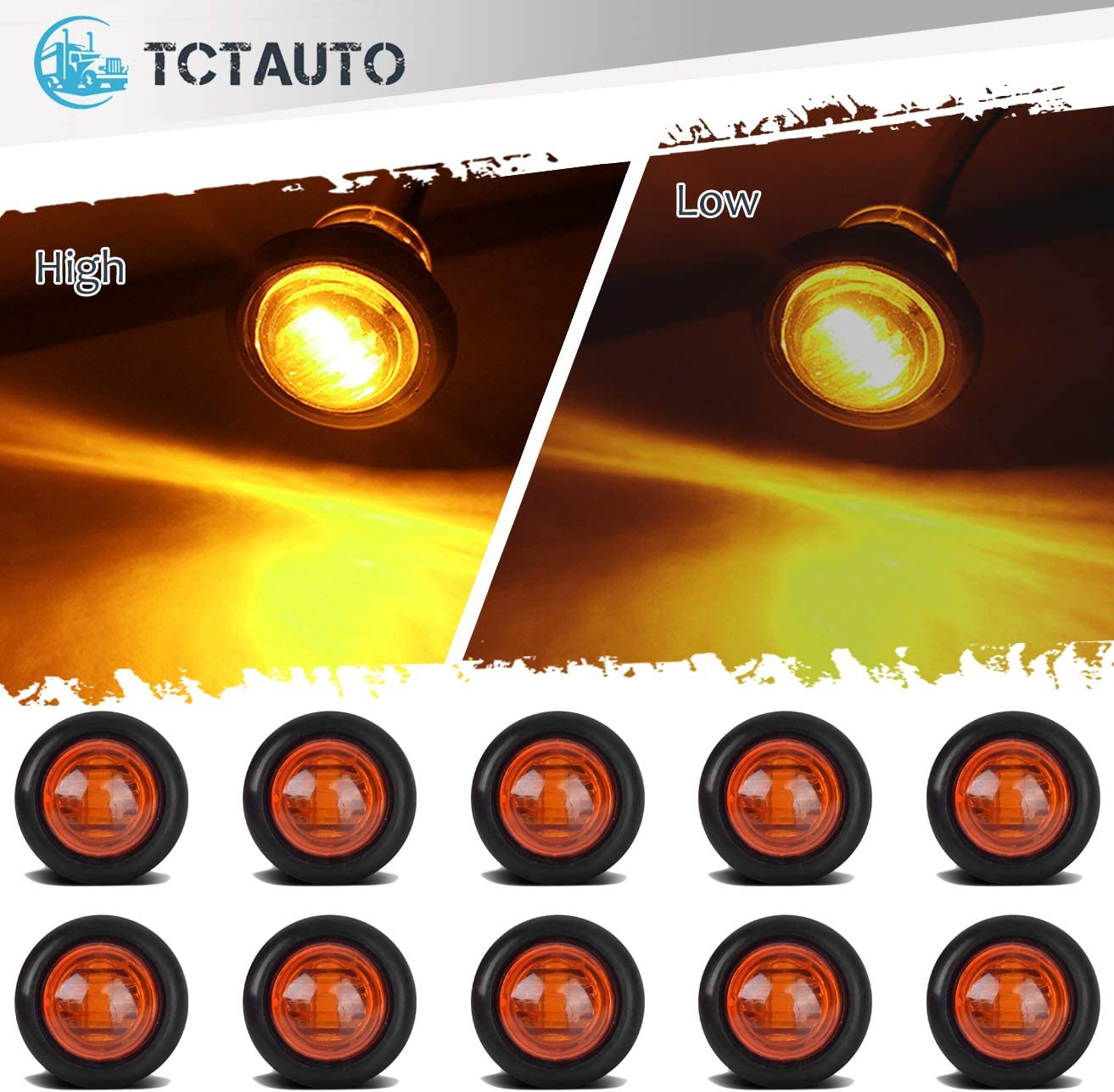 Pack of 10 TCTAuto 3//4 Amber Round LED Marker Stop Turn Signal Light Rubber Grommet Miniature Type with 3 Wire 2 Function High /& Low