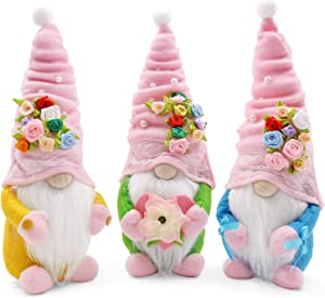 Christmas Gnome Gift for Girlfriend Wife Mother Daughter Lover Set Handmade Flowers Gnomes Shelf Sitters Tomte Swedish Gnome Nisse Scandinavian Gnomes Plush Elf Dwarf Home Household Ornaments Set of 3