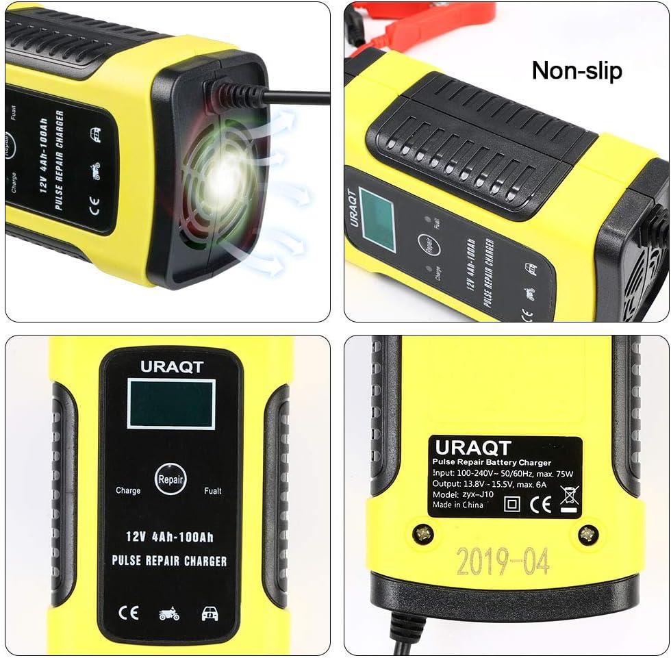 Affichage LCD URAQT Chargeur de Batterie,Mainteneur 6A 12V Intelligent Prise Standard Europ/éenne avec Protections Multiples pour Batterie de Voiture Tondeuse /à Gazon ou Bateau Rouge Moto