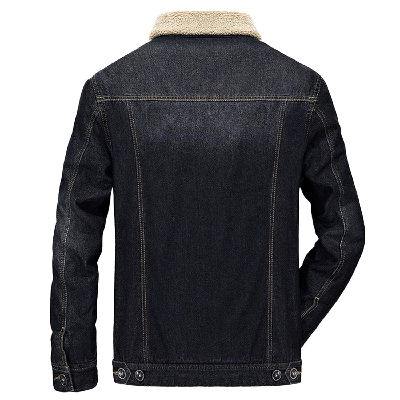 Sue&Joe Men's Denim Jacket Warm Sherpa Collar Slim Fit Lined Outwear Parka Tops