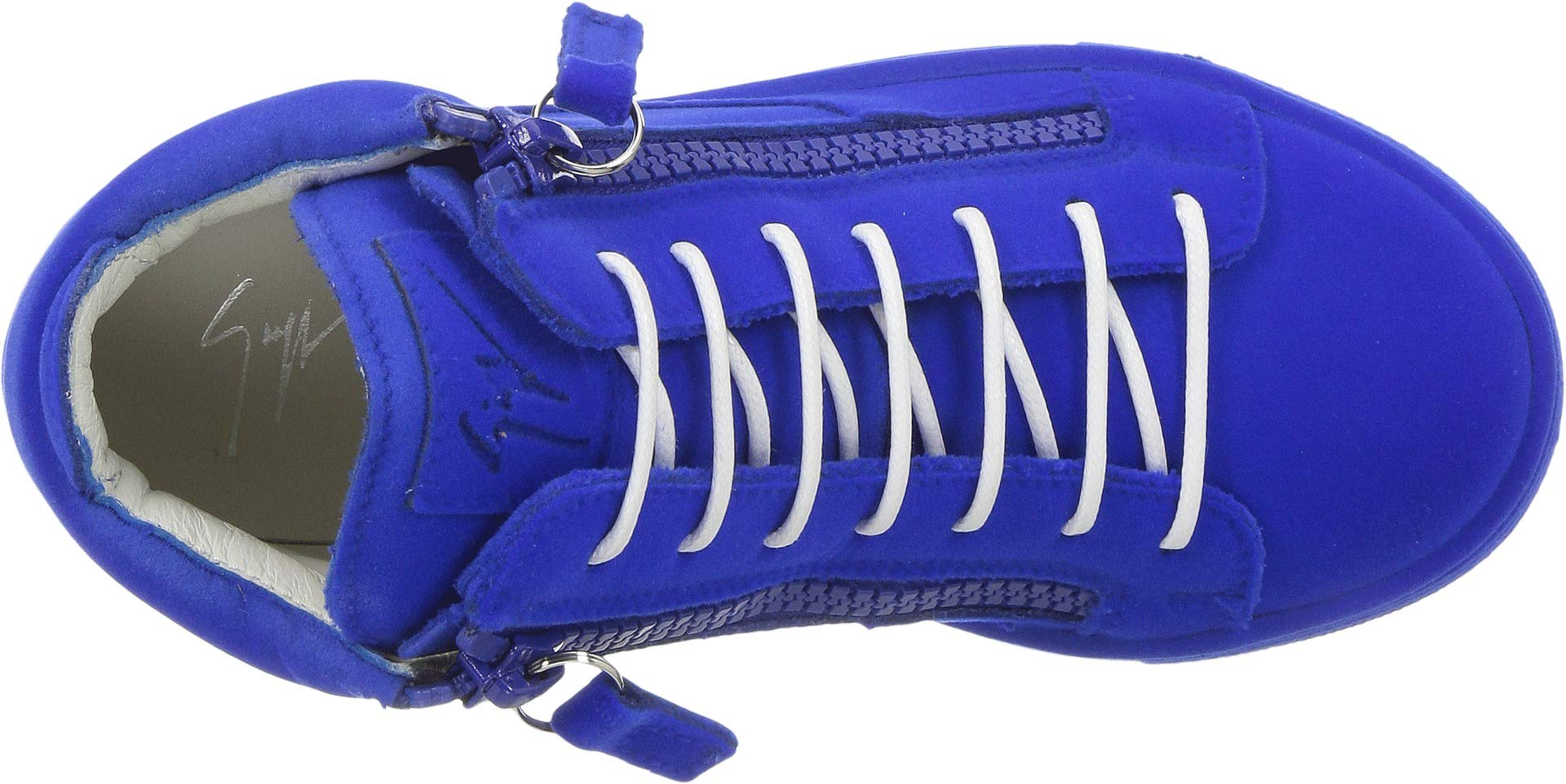 Giuseppe Zanotti Kids Unisex Flock Sneaker (Toddler/Little Kid) Electric Blue 30 M EU M by Giuseppe Zanotti Kids (Image #2)