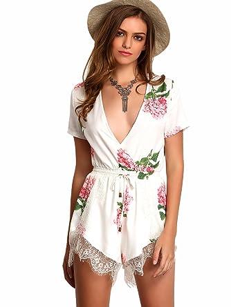 25e0b2d1ca Floerns Women's Wrap Front Floral Print Romper Shorts Jumpsuit Playsuit  White XL
