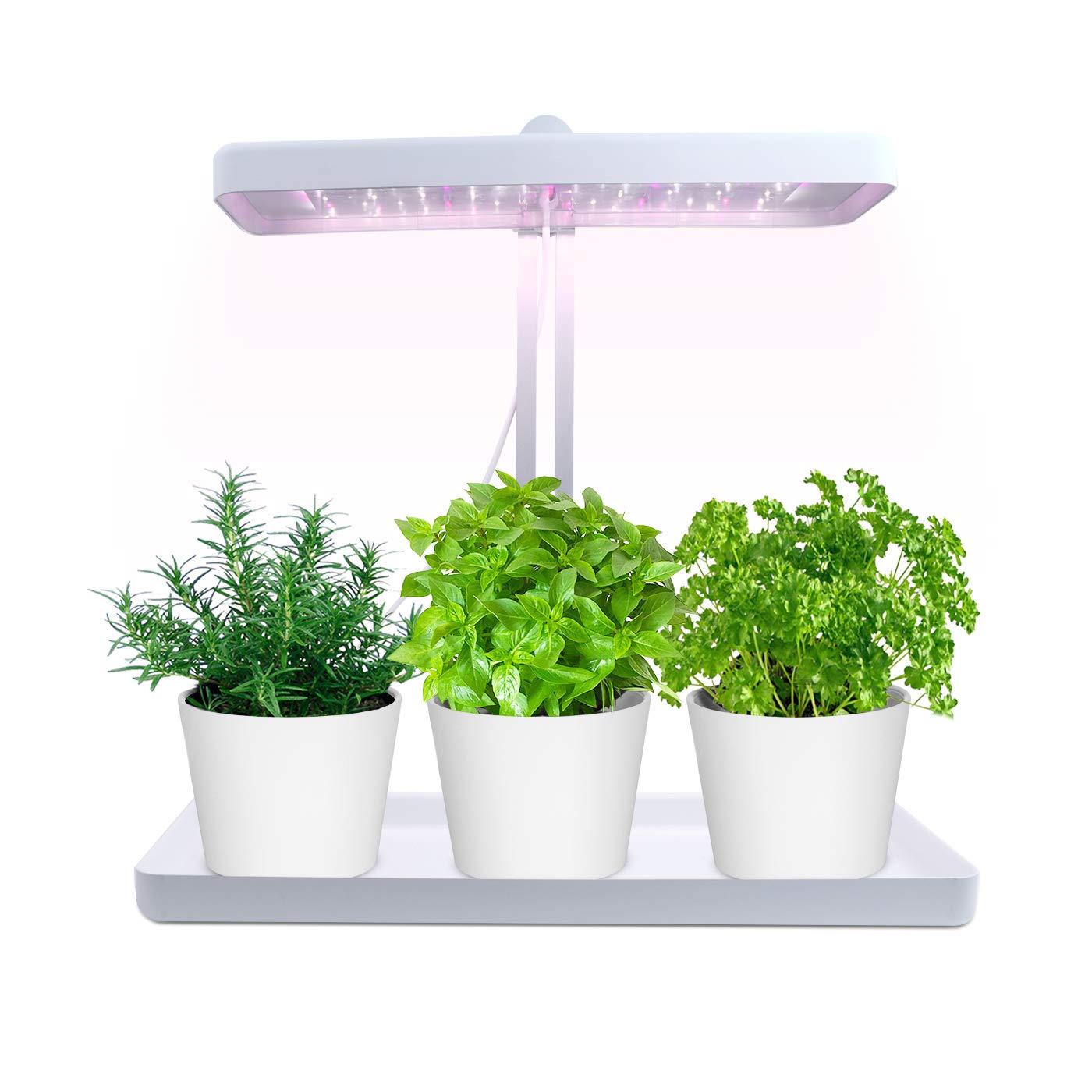 iGrowtek Fantastic Smart Herb Garden Indoor, with Sunlike White LED Grow Light, Height Adjustable,Safe Low Voltage 24V DC Adapter Input
