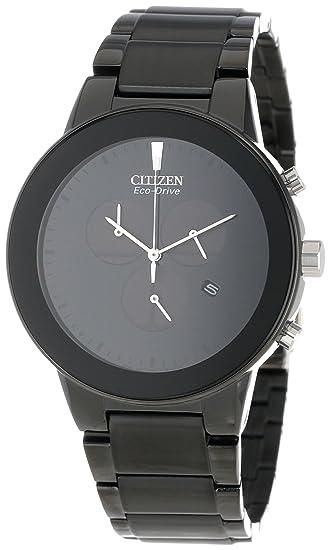 Citizen AT2245-57E Mens Axiom Eco-Drive Black Dial Black IP Steel Bracelet Chronograph