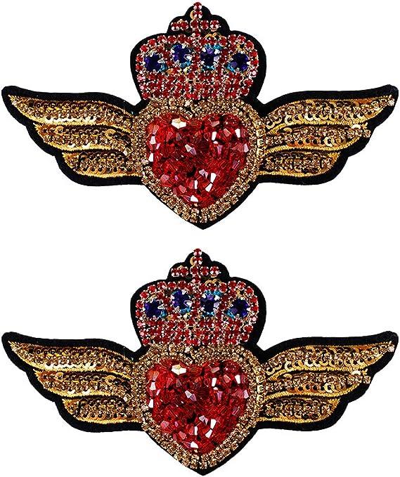 One pair wing sequins applique patch appliques cloth applique DIY garment accessories decorative patch SMTBT005
