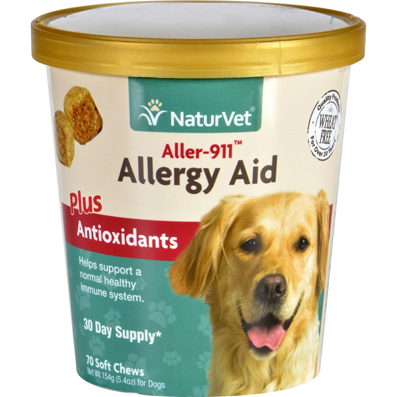 NaturVet 70 Count Aller-911 Allergy Aid Plus Antioxidants Soft Chews 5.40 oz (154 g)-(2 pack )