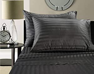 ADDY HOME FASHIONS Supima Cotton Sheets on Amazon! Blockbuster Sale: Todays Special Luxury Super Soft 100% Supima Cotton Damask Stripe 500 Thread Count Sheet Set (King, Charcoal)