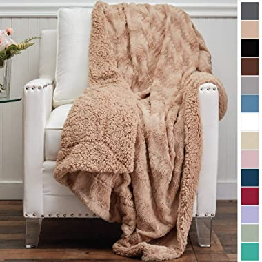 The Connecticut Home Company Luxury Faux Fur with Sherpa Reversible Throw Blanket, Super Soft, Large Wrinkle Resistant Blankets, Warm Hypoallergenic Washable Couch or Bed Throws, 65x50, Beige