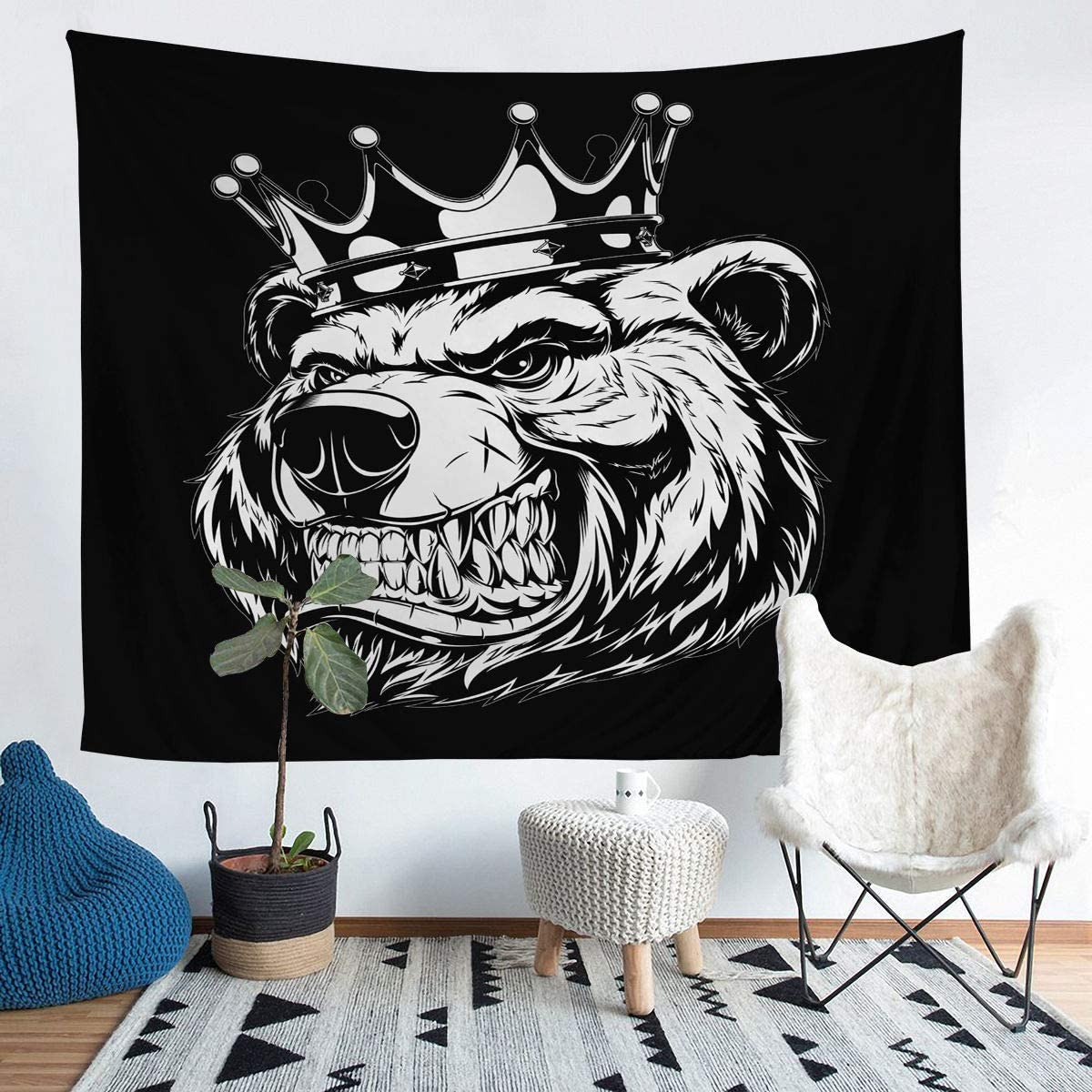 Erosebridal Men Bear Tapestries Ferocious Bear Head Wall Hangings Crown Pattern Bedding Throw Blanket Wildlife Animal Print Tapestry, Wall Art Decor Window Curtain