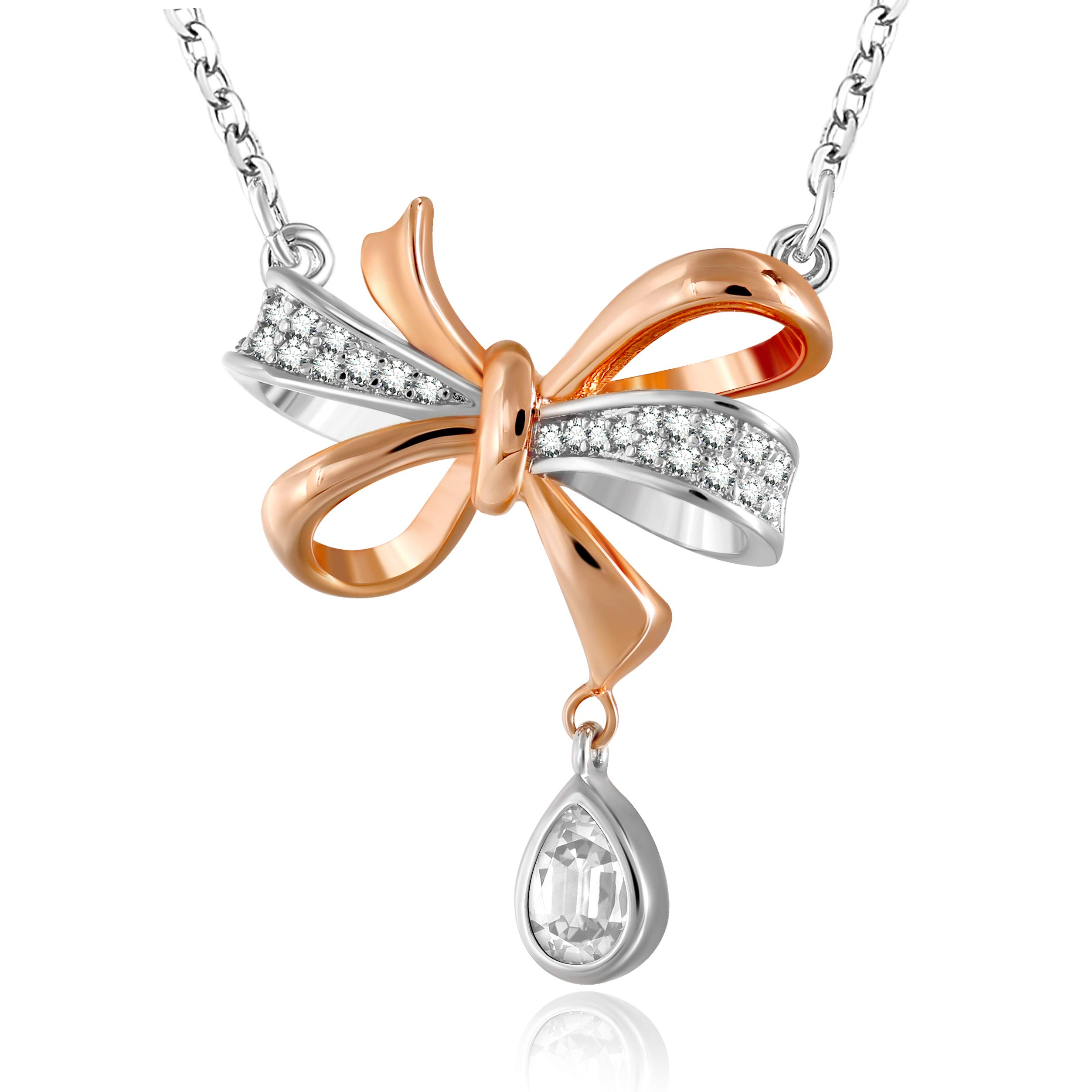 GEORGE · SMITH Love Knot Rose Gold Pendant Necklace for Women, Birthday Gift Necklace Jewelry Gifts with 18+2 Inches Extender Chain by GEORGE · SMITH