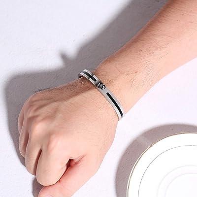 Yoga Meditation Bracelet OM Stainless Steel Bangle Cuff Bracelet for Men Women