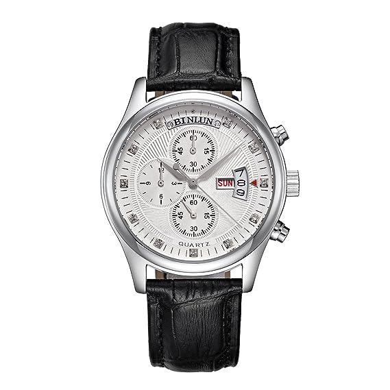 binlun Hombres Muñeca relojes cuarzo cronómetro cronógrafo para hombre con correa de piel elegante Business Casual estilo: Amazon.es: Relojes