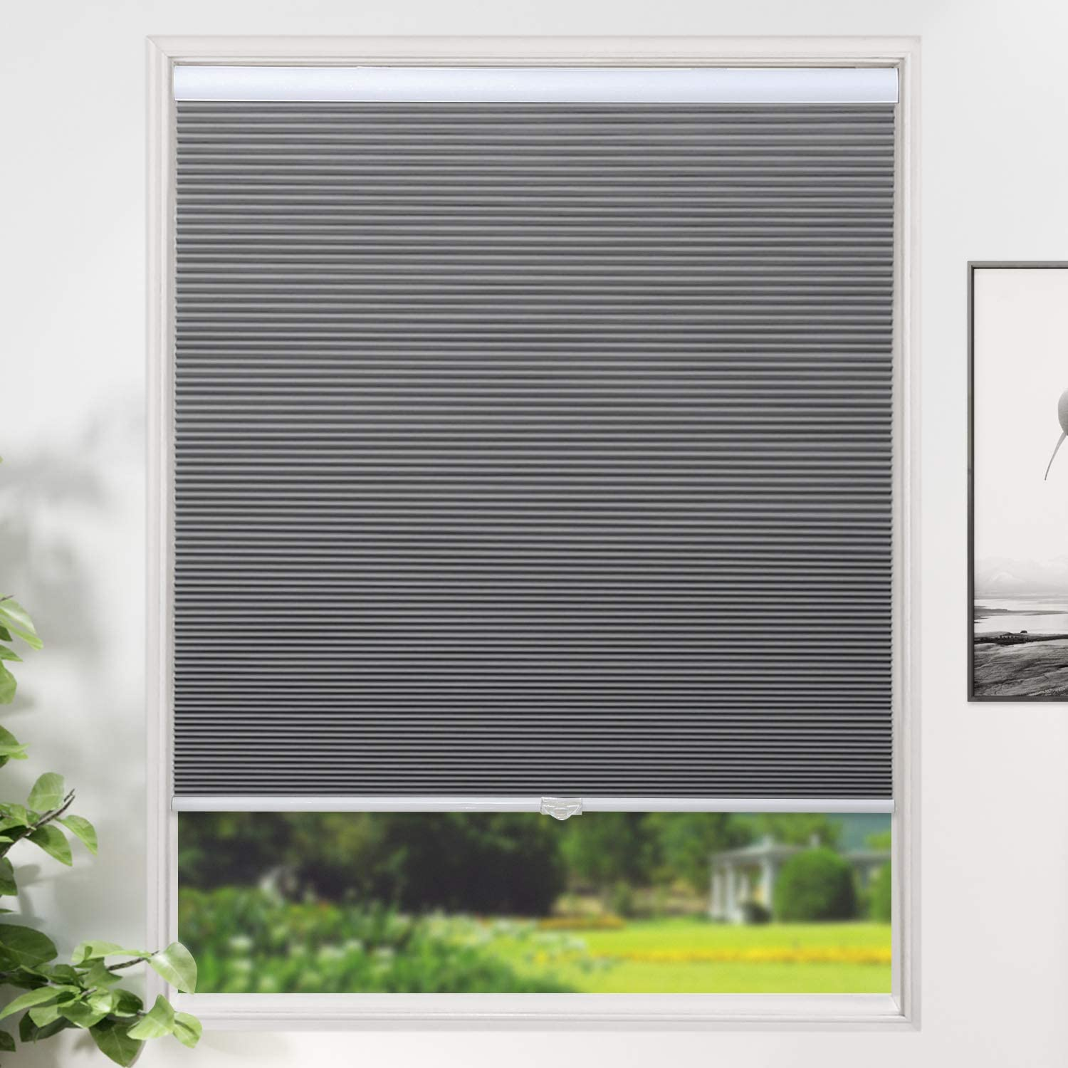 SUNFREE Cellular Shades Blackout Blinds Cordless Honeycomb Window Shades for Bedroom, Blinds for Window and Door, Home and Office, Grey, 24