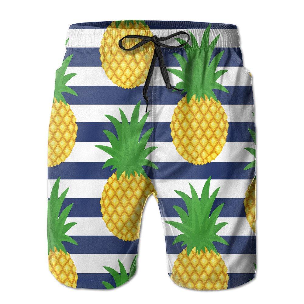 YY909 Men's Cute Pineapple Summer Fruit Casual Beachwear Quick-Dry Swim Trunks