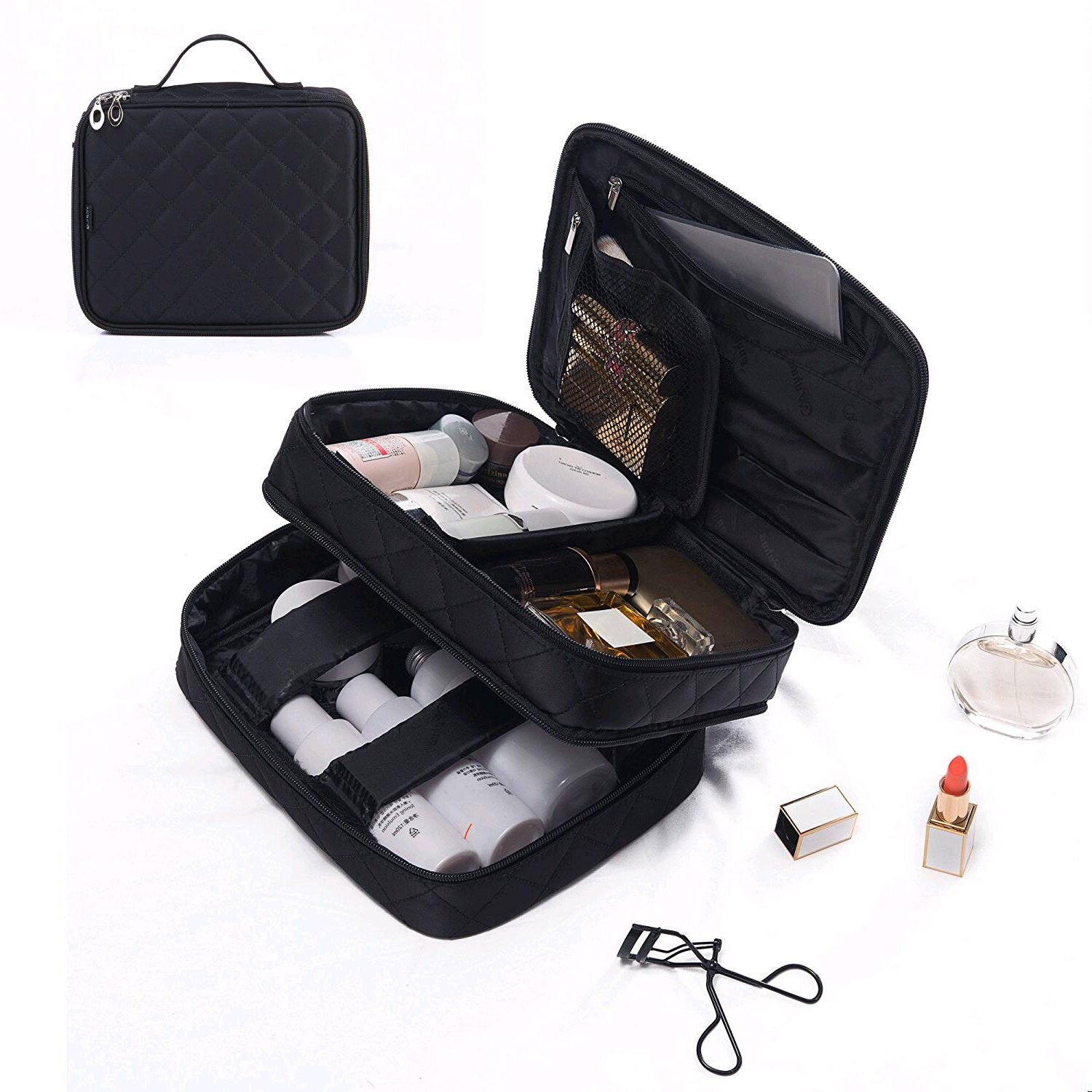 Portable Big Makeup Bag, Wuhua Toiletry/Storage Bag,Train Case Multifunction Professional for Cosmetic Case,Travel Brushes Jewelry Organizer Pouch with Box