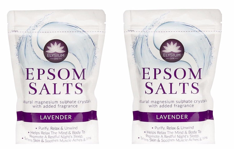 Elysium Spa Bath Salts Natural Magnesium Sulphate Crystals Lavender Salt - 450g Wilsons Direct (2 x Lavender Salt)