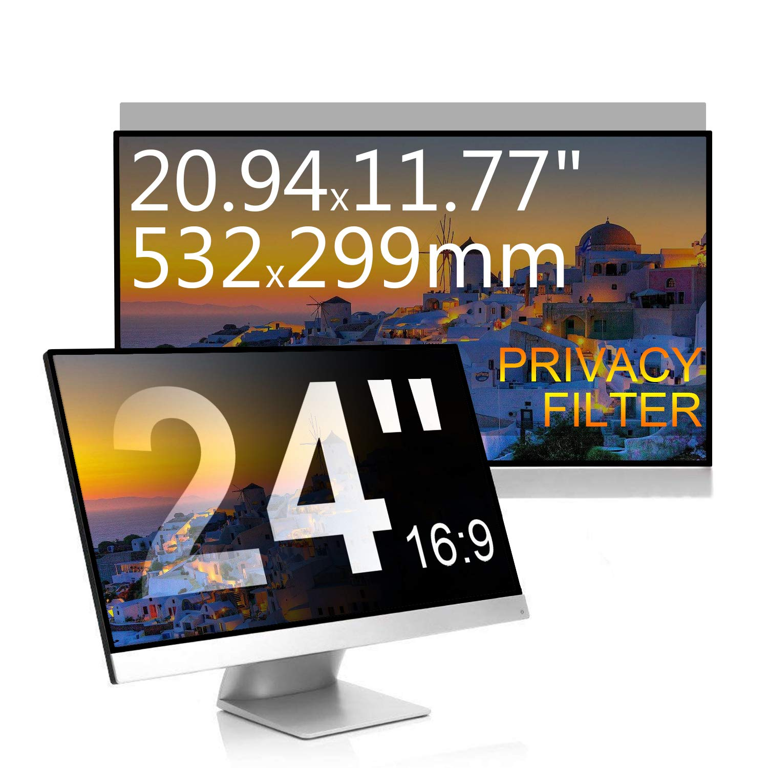 "24/"" inch 16:9 Privacy Screen Filters Screen Protectors 20.94x11.77inch//532x299mm"