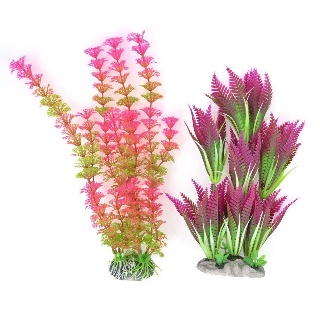 2Pcs 2.4  Height Plastic Artificial Aquatic Plant Decor for Aquarium