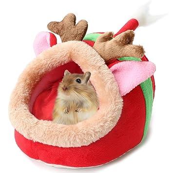 Pequeño Animal Cute Cave Cama Casa Cálido Felpa Algodón Dormir Nido para Indias Pig Hamster Rat