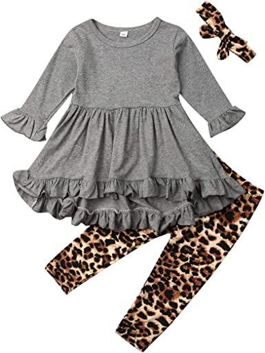 Listogether Toddler Kids Girls Cute Long Sleeve Solid Color T-Shirt Tops+Party Tutu Skirts 2Pcs Outfits Clothes